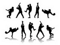 People silhouette Vector baseball material