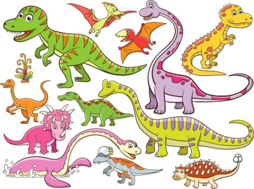 12 cartoon dinosaur vector